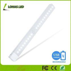 Sensor de movimento LED acende a luz nocturna recarregável USB 2W Barra de luz LED DIY Stick-em qualquer lugar para escadas Closet