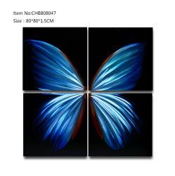 Papillon Bleu Métal 3D Huile sur toile fait main