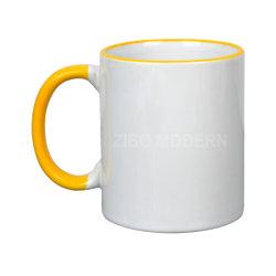 11 oz de la porcelaine et poignée de RIM de couleur personnalisable des tasses à thé/café - Café/thé Mug porcelaine, grès