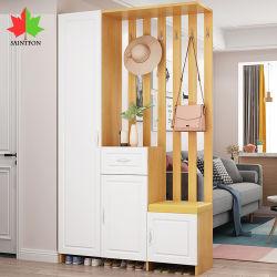 Zapatos de diseño moderno con armario de almacenamiento en estanterías con bastidores de abrigo de la partición de porche con muebles de madera armario Salón