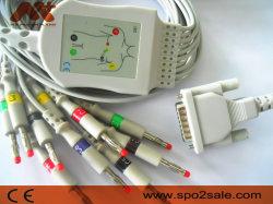 Schiller 2.400095 Casquilhos inteiriços, 10 derivações do cabo de ECG com resistência