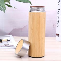 Sans BPA Original personnalisé en acier inoxydable de bambou 15oz bouteille d'eau tasse à café de Voyage avec crépine
