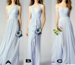 Plata Chiffon parte vestido vestidos de Prom vestido de noche una línea P16091
