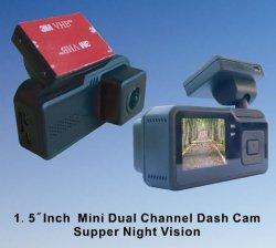"""1.5 """"前部Imx291センサーが付いているデュアル・チャネル完全なHDデジタルのビデオレコーダー組み込みGPS、Ios及び人間の特徴をもつAPP防水1080Pバックアップカメラ"""