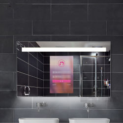 Salle de bains de 19 pouces monté sur un mur Smart Miroir Magique de la publicité de verre d'affichage vidéo Player Ad joueur avec les prévisions météorologiques et News TV