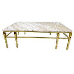 Mable naturelles haut Meubles de salle à manger table à manger avec les jambes en acier de métal