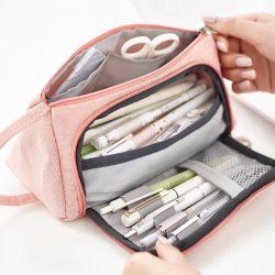 高容量のキャンバス配達筆箱の多重Pouchedの鉛筆袋