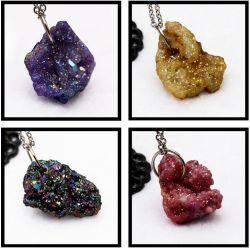 Dente de Cristal Colar Ágata natural bruto pendente irregulares coloridos brincos jóias de bricolage Acessórios