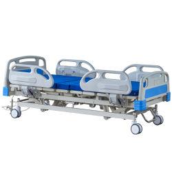 Fabricante de venda directa de certificação CE 5-Função ajustável de metal de Clínica Médica de luxo Electric UTI clínica do paciente cama para equipamentos hospitalares