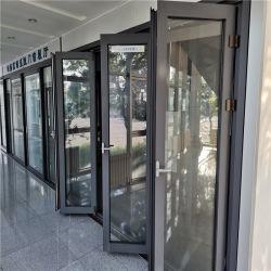 Alumínio vidro Bifold portas dobráveis Windows Multi-Fold Casement deslizante da Estrutura de alumínio com vidro duplo Design Moderno