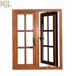 Meilleur Prix plaqués bois composite du grain de la fenêtre à battant de profilés en aluminium