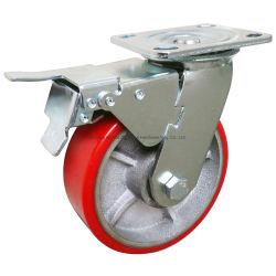 Heavy Duty Roulette pivotante en caoutchouc polyuréthane Industrrial/roue pivotante avec frein de blocage double