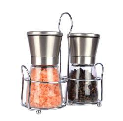 جلاخة ملح الزجاج والفلفل مزودة بحامل معدني مع غطاء مطحنة التوابل