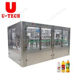 Macchina elaborante di coperchiamento di lavaggio delle bottiglie dell'animale domestico del succo/tè di ananas dell'acciaio inossidabile e d'imballaggio di riempimento imbottigliante bevente