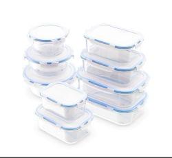 Conjunto de recipiente de almacenamiento de alimentos de vidrio con tapa horno almuerzo tazón de vidrio.