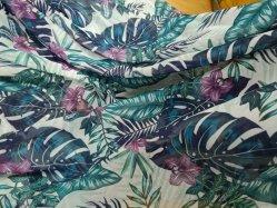 Impressão por sublimação de tinta padrão Tropical vestido Chiffon Tecido de poliéster para Jantes Kimono