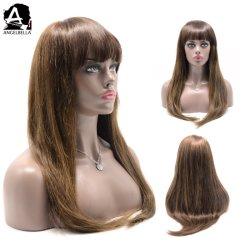앙멜벨라 실키 스트레이트 끈 앞 반핸드 타이 4# 27# 인간 머리카락 가발