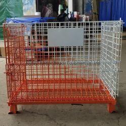De kleurrijke Container van de Pallet van het Netwerk van de Draad van het Staal Opvouwbare voor de Opslag van het Pakhuis