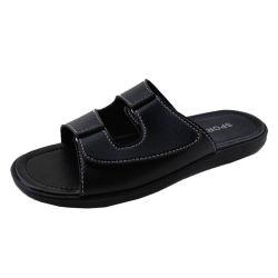 Verão negro masculino chinelos homens, homens sandálias de couro e chinelos Fabricante, Design de Mens Leather Chinelos