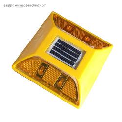 4 LED-weißer gelber Plastikkatzenauge-Solarstraßen-Stift