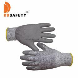Commerce de gros 13G Hppe gris la résistance de sécurité main résistants aux coupures+gant enduit PU ESD anti couper des gants de travail de niveau 5 Ce FR388 44C42
