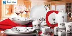 47pcs carré en porcelaine personnalisé dîner ensemble plaque/Blanc/dîner dîner ensemble la plaque de chargeurs de la plaque