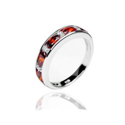 Los anillos de boda granate moda CZ promesa Anillos Plata 925 Anillos de regalo San Valentín para las mujeres