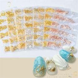 Diseño del hueco de metal de aleación de oro 8 formas de mezcla de estilos en una bolsa bricolaje decoración Joyas de uñas Nail Art joyas 3D