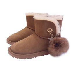 Classic Suede verdadeiro odres de pele de couro sola de borracha revestidos com botas de neve no inverno para mulheres sapatos de Inverno