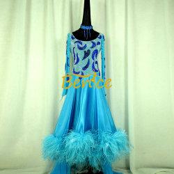 Salle de bal longue frange de pivotement vers le bas de la danse latine Rhinest robe pour les femmes