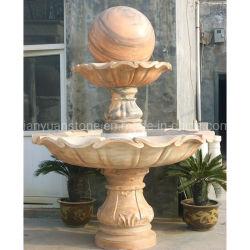 Jardim entalhes em pedra mármore rosa esfera rolante fonte de água