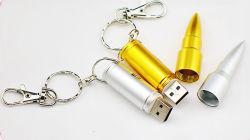 Custom Bullet Shape USB Flash Drive Metal USB sleutelhanger met Gratis Logo Gift USB