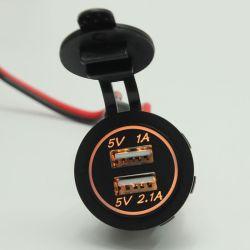 Toma de alimentación de 12V cigarrillo con doble USB cargador para teléfono móvil tableta móvil con el cableado para el cargador de coche