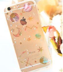Personalizar hermosa brillando en 3D Cristal Oro adhesivos pegatinas de teléfono móvil