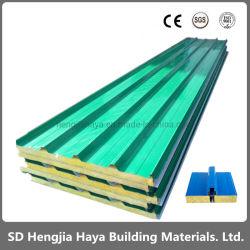 建築材カラー上塗を施してある亜鉛上塗を施してあるPPGI Rockwoolサンドイッチパネルの価格の販売のための耐火性の屋根のパネル