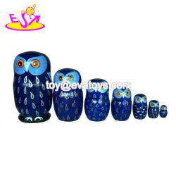 도매 싼 Owl 디자인 목재로 된 러시아식 장난감 인형 어린이 W06D089입니다