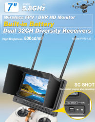 """Ground Station Fpv를 위한 Battery건축하 에서를 가진 32CH 5.8GHz Receiver 7 """" LCD DVR"""