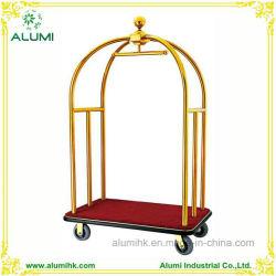 Hotel el carro con el equipaje de acero inoxidable con acabado cromado de oro