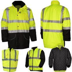 Мужчин полиэстер инженерной службы часто Hi Vis/СВЕТООТРАЖАЮЩИЕ ПОЛОСЫ флуоресцентный оранжевый зеленый слой безопасности Cotton-Padded куртка