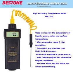 デジタル体温計、温度のメートルのテスターの液体、ガス、固体-50 ~ 1300年のCまたは-58~2372 Fの範囲、高精度なデジタル温度のゲージのメートルTM-1310