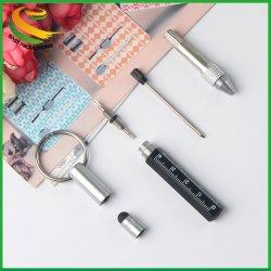 Agregar a Compareshare 6 en 1 Herramienta Pluma multifunción Mini Bolígrafo metálico con llavero destornillador Regla Toque Stylus pen de la herramienta de metal