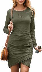 La mujer elegante Bodycon Ruched moda casual de color sólido Basic vestido corto