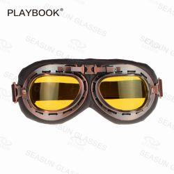 Casco Eyewear del getto del cuoio degli occhiali di protezione della motocicletta degli occhiali di protezione del motociclo di stile di Harley retro cinque occhiali di protezione del MX di colore con l'obiettivo chiaro