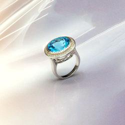 Mode Bijoux Bijoux en argent Sterling 925 hommes l'anneau avec créé Topaze Bleue Suisse
