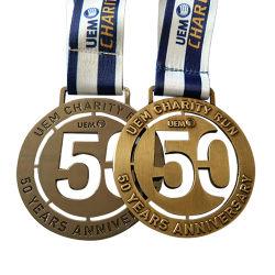 Fábrica de China Logotipo personalizado 2D/3D Soft enamel Prendedores Badge Deportes Artesanía de la medalla de desafío con cinta de opciones (YB-M-004)