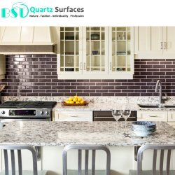 Bon marché de l'île de quartz préfabriqués comptoirs avec de veines Multi-Colored