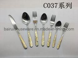 Hot Sale de haute qualité dîner ensemble de couteaux en acier inoxydable avec l'or couleur C-037