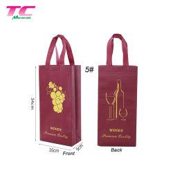 Custom Design imprimé 2 bouteilles de vin à l'Emballage Sac manufacture, commerce de gros cadeau de vin non tissé Portable sac fourre-tout avec la couche
