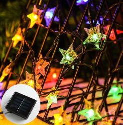 옥외 조경 안마당 휴일 훈장을%s 방수 태양 LED 벚꽃 별 끈 빛