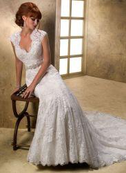Merletto a cristallo della cinghia che Wedding il vestito da cerimonia nuziale nuziale della parte posteriore del buco della serratura del vestito da Mermai del vestito nuziale
